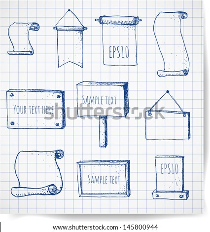 Set of hand-drawn sketch frames on squared paper. Ready for your text. Vector illustration.  - stock vector