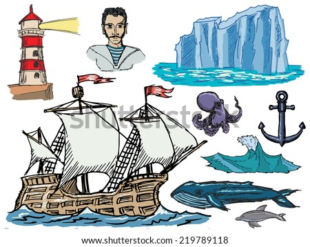 set of hand drawn, sketch illustrations of marine related motives - stock vector