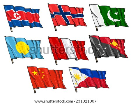 set of hand drawn sketch illustrations of national flags