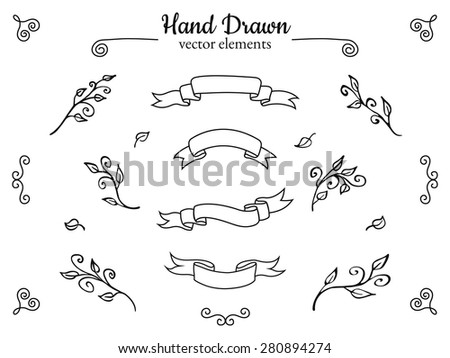 Set of hand drawn sketch ribbon banners and decorative elements. Vector illustration. - stock vector
