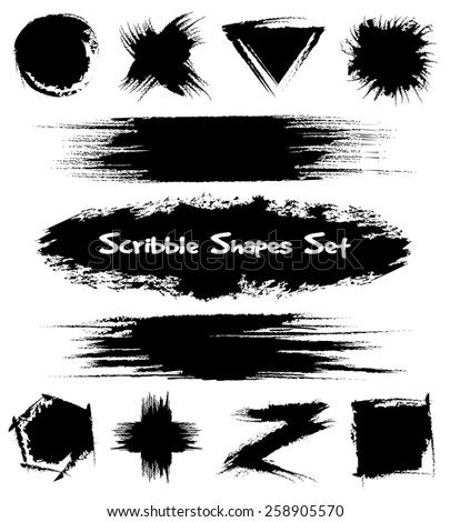 Set of hand-drawn sketch shapes. Scribble and design, black and brush. Vector illustration - stock vector
