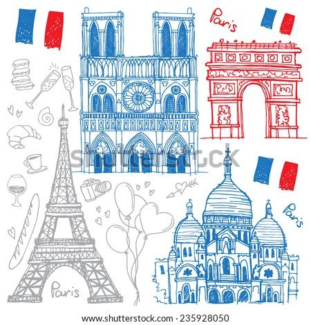 Set of hand drawn sketches of the famous sights of Paris, France - Eiffel Tower, Basilique du Sacre Coeur, Notre-Dame de Paris, Arc de Triomphe. Vector illustration isolated on white background - stock vector