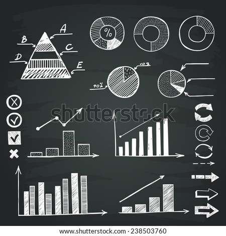 Set of hand drawn sketchy charts and diagrams on chalkboard background. Infographic elements. - stock vector
