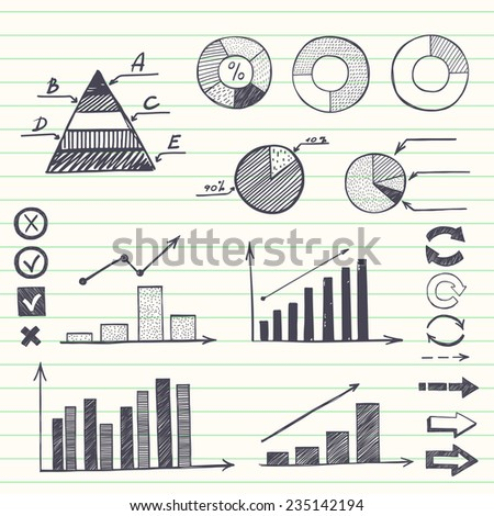 Set of hand drawn sketchy charts and diagrams on lined notebook paper background. Infographic elements. - stock vector