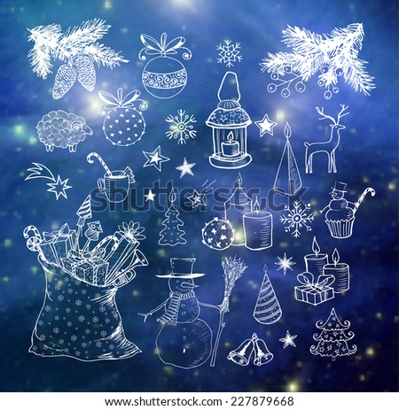 Set of hand-drawn sketchy Christmas elements on blackboard. Doodle sketch vector illustration. Candles, gift boxes. snowmen, pomanders.  Elements of this image furnished by NASA.