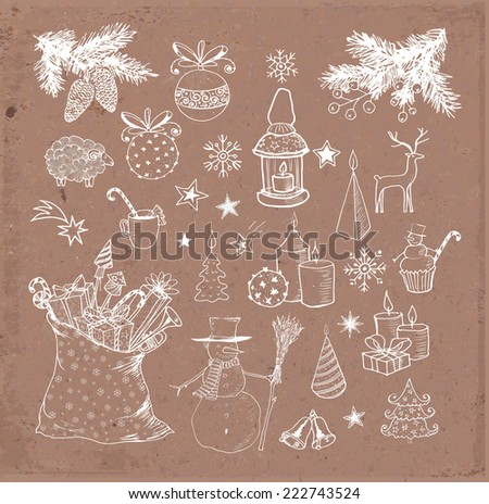 Set of hand-drawn sketchy christmas elements on brown parcel paper. Doodle sketch vector illustration. Candles, gift boxes. snowmen, pomanders.