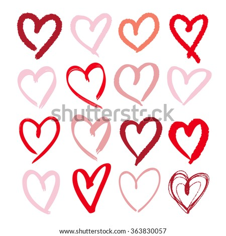 Set of hand drawn sketchy hearts. Vector grunge style icons collection. Illustration of the hand drawn hearts on the white background.