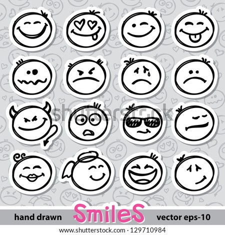 set of hand drawn smiles on realistic paper stickers - stock vector