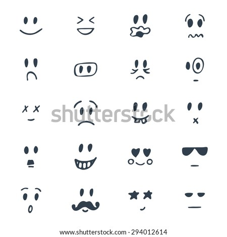 Set of hand drawn smiley faces. Sketched facial expressions set. Vector illustration