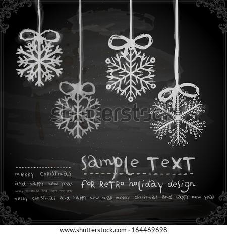 Set of Hand Drawn Snowflakes, Chalkboard texture. Chalk Design. - stock vector