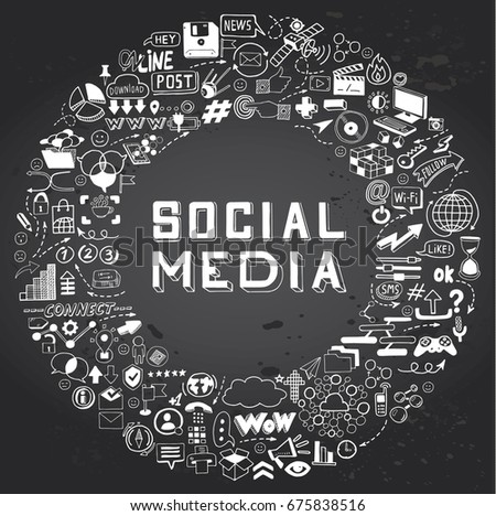 Set Hand Drawn Social Media Objects Stock Vector 675838516
