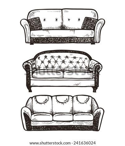 Set of hand drawn sofas, vector illustration. - stock vector