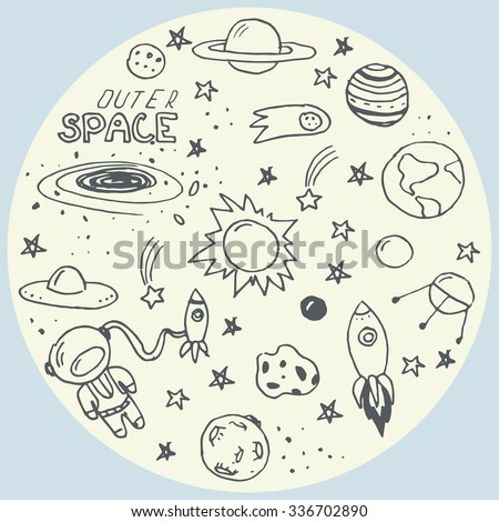 set of hand drawn space doodles - stock vector