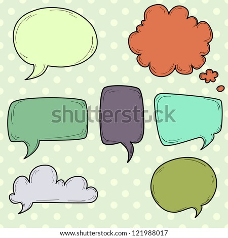 Set of hand drawn speech and thought bubbles on a polka dot background. Vector illustration.