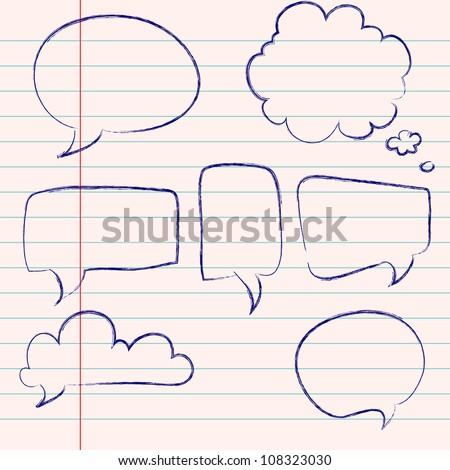 Set of hand-drawn speech and thought bubbles on lined notebook paper background. Vector illustration. - stock vector