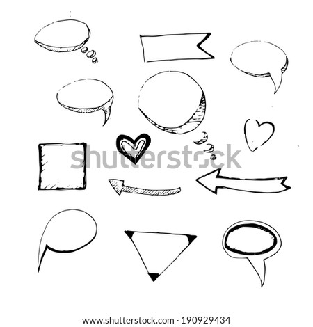Set of hand drawn speech bubbles, arrows and other vector doodles. Eps10 - stock vector