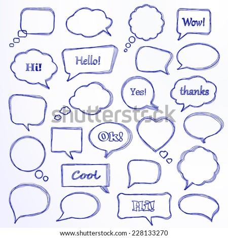 Set of hand-drawn speech bubbles. Vector illustration. - stock vector