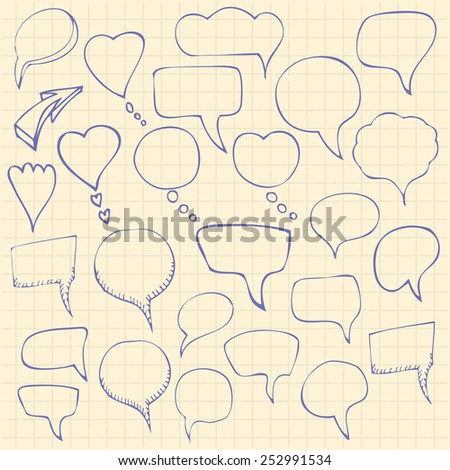 Set of hand-drawn speech bubbles. Vector illustration - stock vector