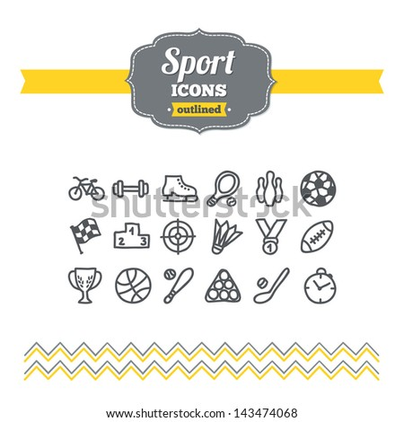 Set of hand drawn sport icons - stock vector