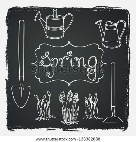 Set of hand drawn spring flowers and tools on chalkboard background. Vector illustration. - stock vector