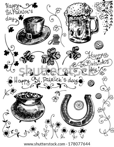 Set of hand - drawn St.Patrick day related objects - clovers, hat, beer, pot full of gold, horseshoe - stock vector