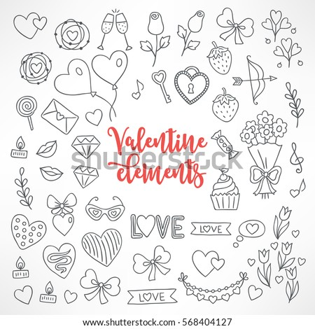 Set of hand drawn St. Valentine's Day design elements. Heart, wreath, champagne, rose, balloon, letter, lollipop, strawberry, bouquet, garland, love, candles, diamonds.  Perfect for coloring books