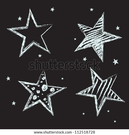 Set of hand drawn stars on chalkboard background. Vector illustration. - stock vector