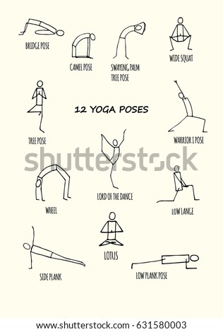 Set Of Hand Drawn Stickman Yoga Poses With Names Isolated On White Background Vector Illustration