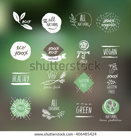 Set of hand drawn style labels and elements for organic food and drink, natural products, restaurant, healthy food market and production, on the nature background. Vector illustrations. - stock vector