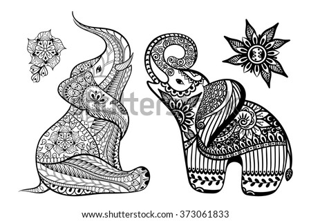 Set Of Hand Drawn Stylized Elephants With Decorative Tribal Ethnic Ornament In Zentangle Style Vector