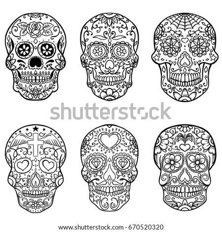 Set Of Hand Drawn Sugar Skulls Day The Dead Dia De Los Muertos