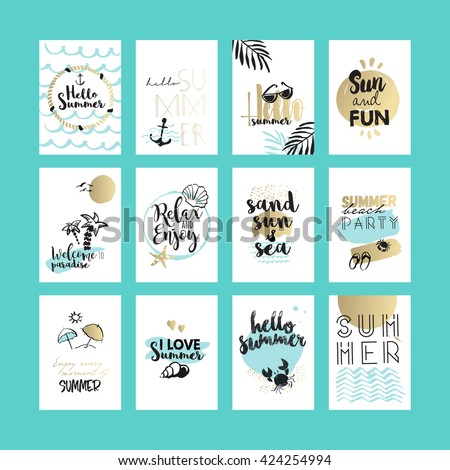 Set of hand drawn summer cards and banners. Vector illustrations for graphic and web design, for summer vacation, beach party, greeting cards, enjoying the sun and sea
