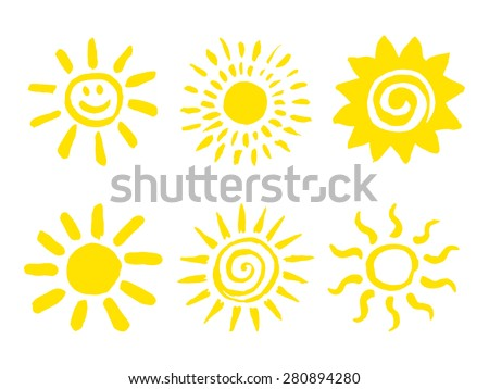 Set of hand drawn sun icons. Vector illustration. - stock vector