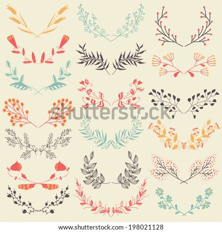 Set of hand drawn  symmetrical floral graphic design elements in retro style. Pastel backdrop. Illustration vector. - stock vector