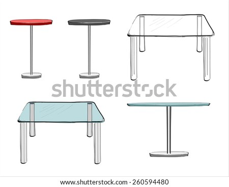 set of hand drawn tables, vector illustration - stock vector