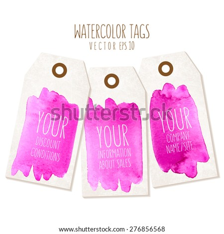 Set of hand drawn tags with watercolor background. Vector eps 10 illustration. Labels of a traditional form with empty space for text. - stock vector