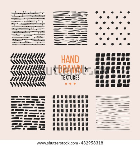 Set of hand drawn textures and patterns. Vector design elements. - stock vector