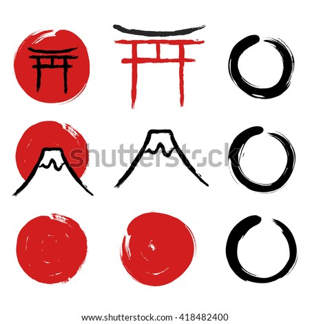 Set of hand-drawn traditional Japanese symbols. Red circles, Torii gate, Enso Zen circles, mount Fuji calligraphy. Vector illustration. - stock vector