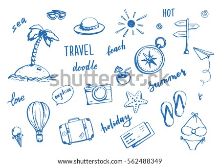 Set Hand Drawn Travel Doodle Vector Stock Vector 562488349