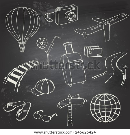 Set of hand-drawn travel icons on a black chalkboard - stock vector