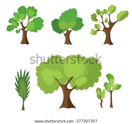 Set of hand-drawn trees. Parts of the forest for your design. Vector. Stock illustration