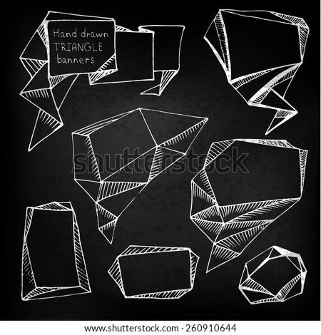 Set of hand drawn triangle speech bubbles on blackboard. Vector illustration. - stock vector