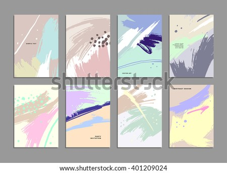 Set of Hand Drawn Universal Cards. Design for Flyers, Placards, Posters, Invitations, Brochures. Artistic Creative Templates. Abstract Modern Style - stock vector