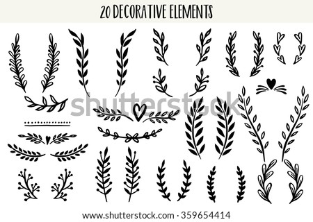 Set of hand drawn vector circular decorative elements for your design. Leaves, swirls, floral elements. - stock vector