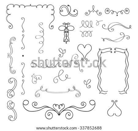 Set of hand drawn vector curls and borders - stock vector