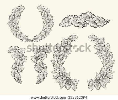 Set of hand drawn vector decorative elements for design. Leaves, swirls, floral elements, circular frames, borders, dividers. Pattern of leaves, leafy border. Retro design of leaves in vintage style - stock vector