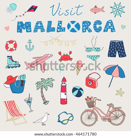 Set of hand drawn vector doodles of Mallorca, Balearic islands, Spain.