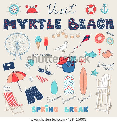 Set of hand drawn vector doodles of Myrtle Beach, South Carolina, USA.