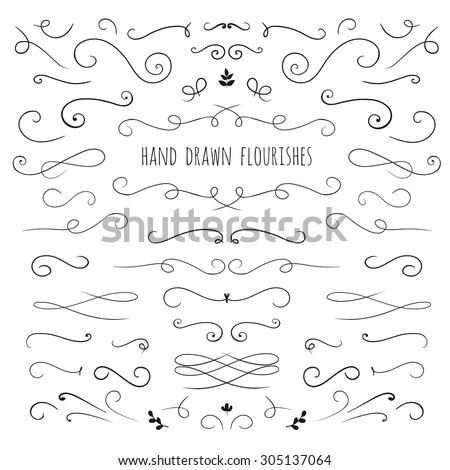 set of hand drawn vector flourishes ans curls - stock vector