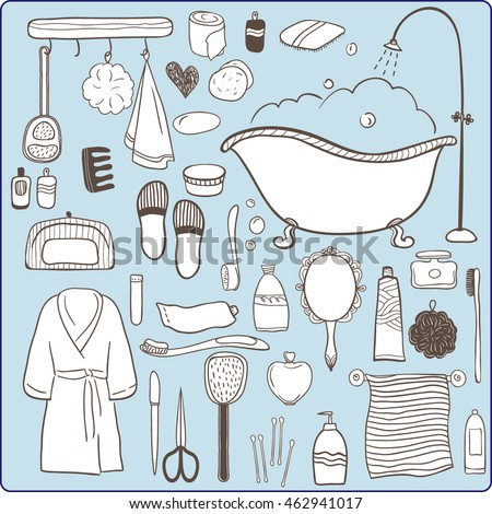 Exceptional Set Of Hand Drawn Vector Icons. Bathroom And Personal Hygiene Items. Cute  Cartoon Illustration
